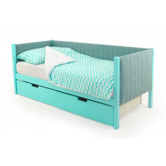 Детская кровать-тахта мягкая Бельмарко Skogen мятный