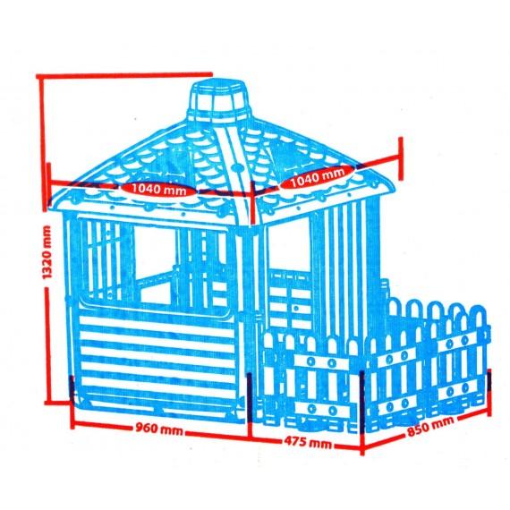 Пластиковый домик Городской дом с ограждением серый