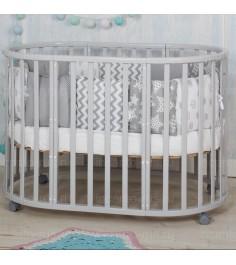 Круглая кроватка Incanto Mimi deluxe 7 в 1 серый