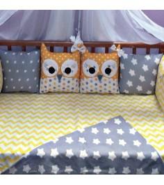 Комплект в кроватку Incanto 10 предметов Совята желтый...