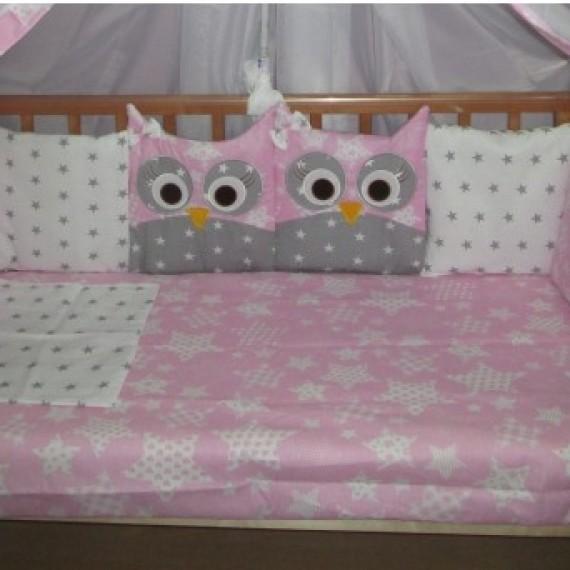Комплект в кроватку Incanto 10 предметов Совята розовый