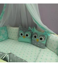 Комплект в кроватку Incanto 10 предметов Совята зеленый