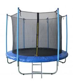 Батут с лестницей и внутренней сеткой 180 см синий