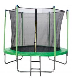Батут с лестницей и внутренней сеткой 180 см зеленый