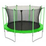 Батут с лестницей и внутренней сеткой 360 см зеленый