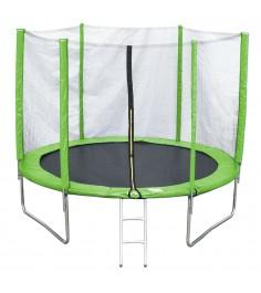 Батут с лестницей и внешней сеткой 244 см зеленый