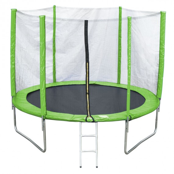 Батут с лестницей и внешней сеткой 306 см зеленый
