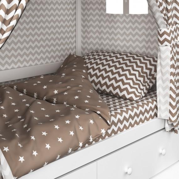 Детское постельное белье Капризун домик Кофе
