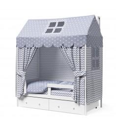 Кровать домик Капризун Р424 Э белый эмаль