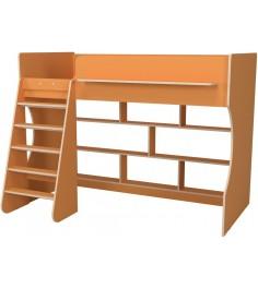 Кровать чердак Р432 Капризун 1 оранжевый с полками