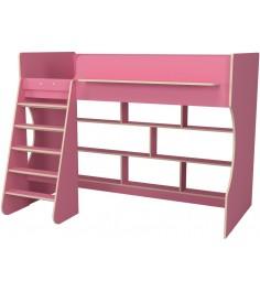 Кровать чердак Р432 Капризун 1 розовый с полками
