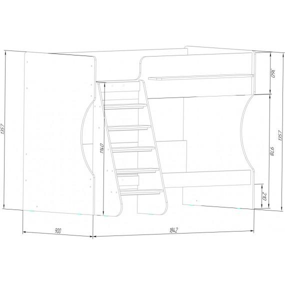 Кровать двухъярусная Капризун 8 дуб молочный