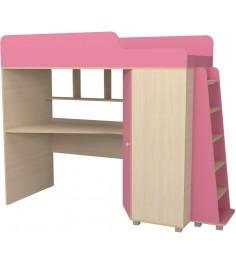 Кровать чердак с рабочей зоной Р440 Капризун 5 розовый