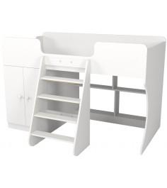 Кровать чердак Р441 Капризун 2 белый со шкафом