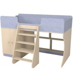 Кровать чердак Р441 Капризун 2 лен голубой со шкафом