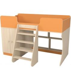 Кровать чердак Р441 Капризун 2 оранжевый со шкафом