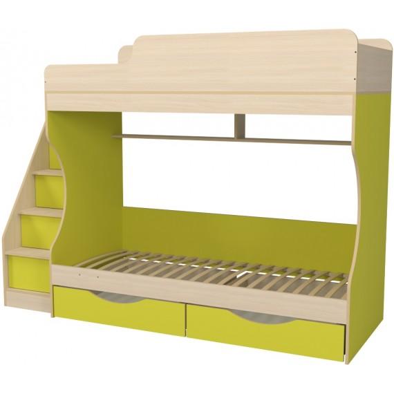 Кровать двухъярусная с ящиками Капризун 6 лайм