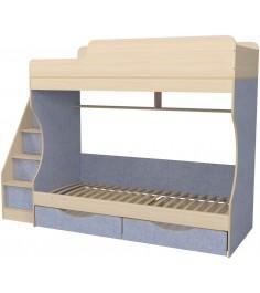 Кровать двухъярусная с ящиками Капризун 6 лен голубой