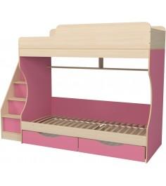 Кровать двухъярусная с ящиками Капризун 6 розовый