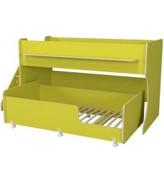 Двухъярусная кровать Р444-2 Капризун 7 с лестницей с ящиками лайм