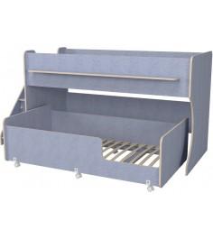 Двухъярусная кровать Р444-2 Капризун 7 с лестницей с ящиками лен голубой