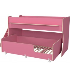 Двухъярусная кровать Р444-2 Капризун 7 с лестницей с ящиками розовый