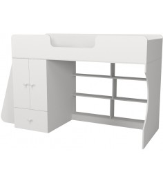 Кровать чердак Р445 Капризун 1 со шкафом белый