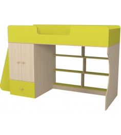 Кровать чердак Р445 Капризун 1 со шкафом лайм
