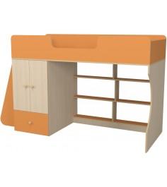Кровать чердак Р445 Капризун 1 со шкафом оранжевый