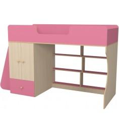 Кровать чердак Р445 Капризун 1 со шкафом розовый