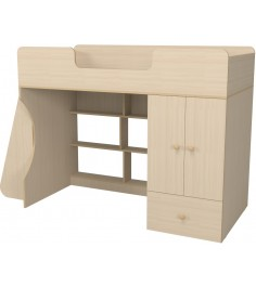 Кровать чердак Капризун 2 со шкафом дуб млечный