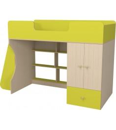 Кровать чердак Капризун 2 со шкафом лайм