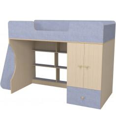 Кровать чердак Капризун 2 со шкафом лен голубой