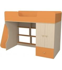 Кровать чердак Капризун 2 со шкафом оранжевый
